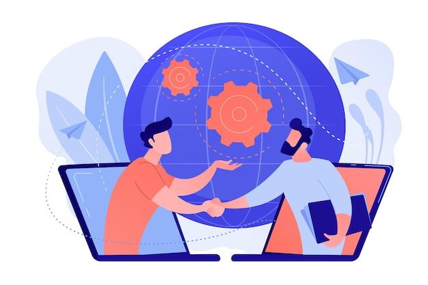 Zakenlieden die handen schudden via laptopschermen als online zakelijke conferentievergadering