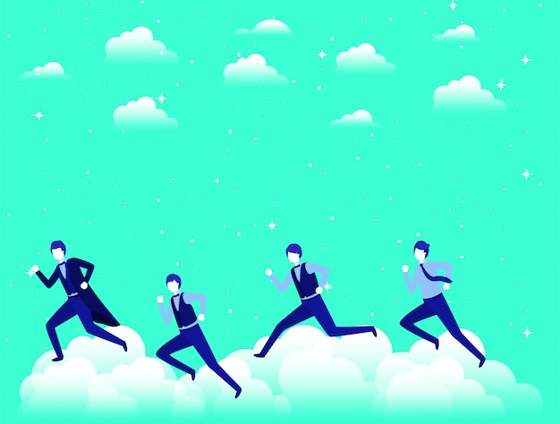 Zakenlieden die in de lucht concurreren