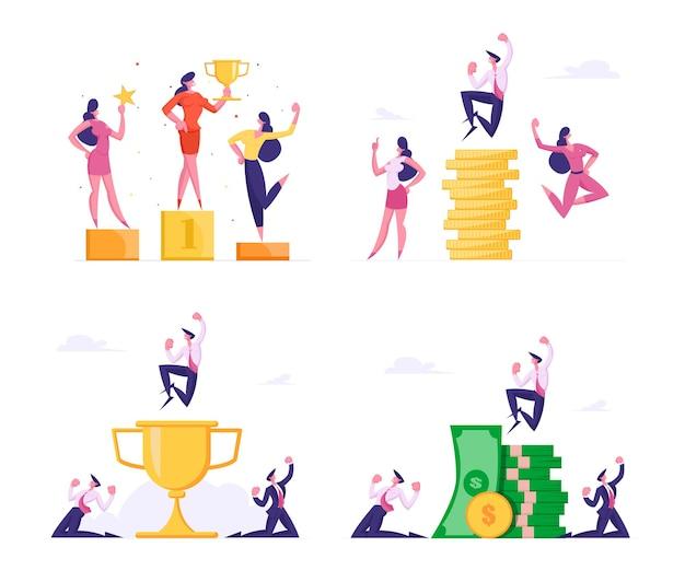 Zakenlieden die kapitaalsets sparen en vergroten succesvolle zakenmensen verheugen zich