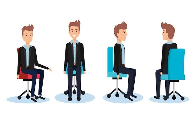 Zakenlieden die op ontwerp van de bureaustoel het vectorillustratie stellen