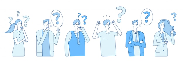 Zakenlieden die oplossing zoeken. mensenhysterieprobleem paniek emotionele stress. personen denken met vraagtekens concept