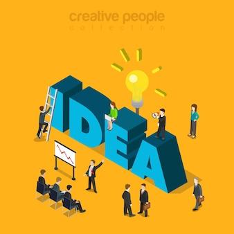 Zakenlieden die verslag en groot ideewoord ontmoeten