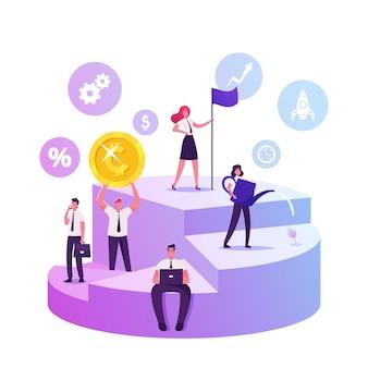 Zakenlieden en vrouwelijke ondernemers staan op enorme cirkeldiagram diagram met aandelen van partners die de belangen beheersen, cartoon vlakke afbeelding
