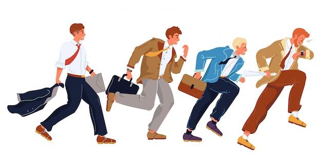 Zakenlieden in formele pakken haasten zich, rennen in de rij. kantoorpersoneel, werknemers, managers die elkaar proberen in te halen, zijn de eersten. carrière, sociaal klimmen, plaats jacht platte vectorillustratie.