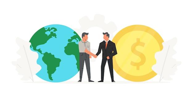 Zakenlieden maken een contract voor de grote munt en de wereld.
