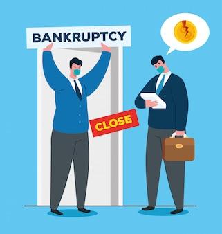 Zakenlieden met maskers voor deur van faillissement