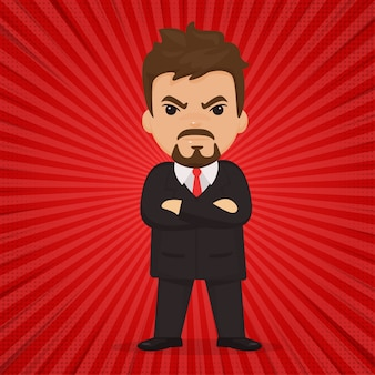 Zakenlieden of baas die boosheid tonen. op een rode strip cartoon-stijl.