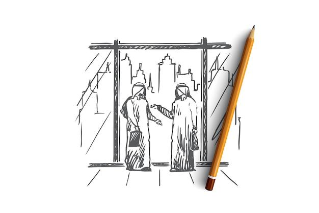 Zakenlieden, partners, moslim, islam, stadsconcept. hand getrokken moslimzakenlieden zijn het eens over samenwerking, stad op achtergrondconceptschets.