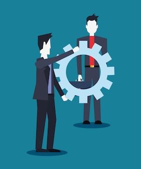 Zakenlieden team met versnellingen samenwerking werk