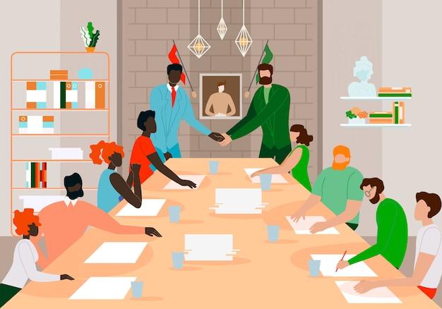 Zakenlieden teamleiders ontmoeten elkaar voor een succesvolle deal.