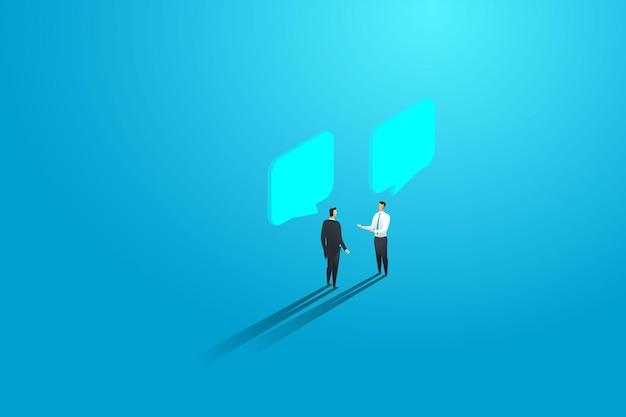 Zakenlieden twee mensen bespreken, ontmoeten chat en dialoog tekstballonnen. vector illustratie