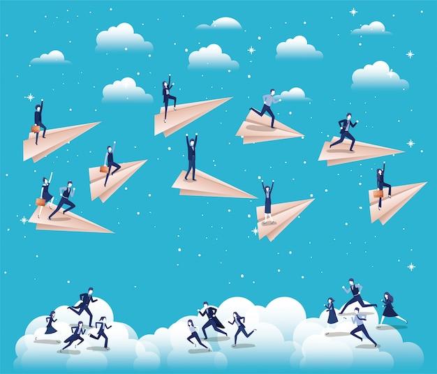 Zakenlui concurreren met papieren vliegtuig