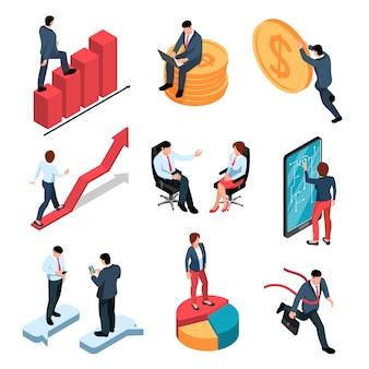 Zakenlui isometrische die pictogrammen met mannelijke en vrouwelijke personen en geld en bedrijfssymbolen worden geplaatst