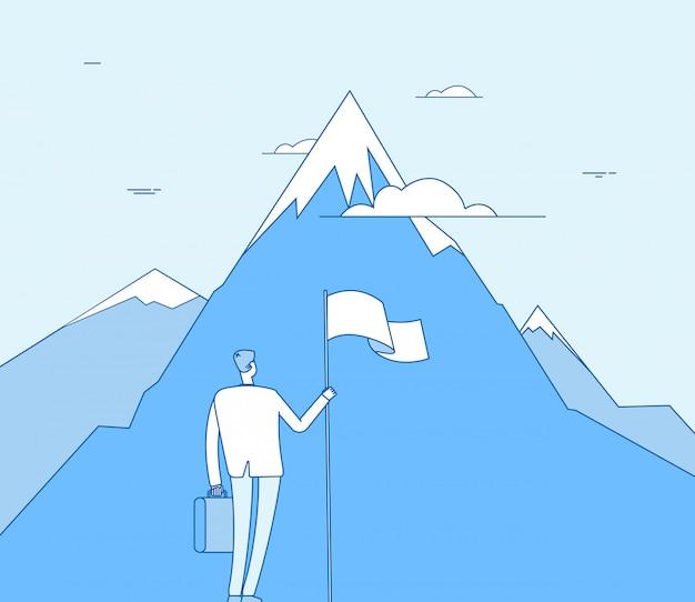 Zakenman aan de berg. succesvolle man met vlag begin succes prestatie. bedrijfsdoel, visie concept