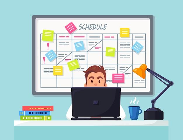 Zakenman aan het bureau werken planning schema op taakbord plannerkalender op whiteboard