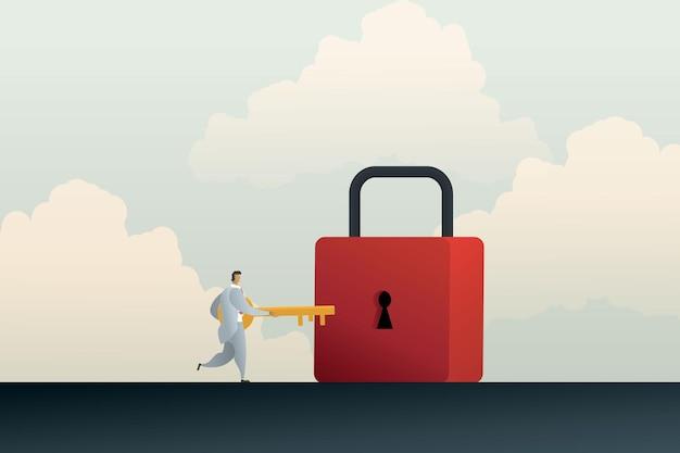Zakenman aan het ontgrendelen van een hangslot met gouden sleutel om een oplossing of een beveiliging te vinden