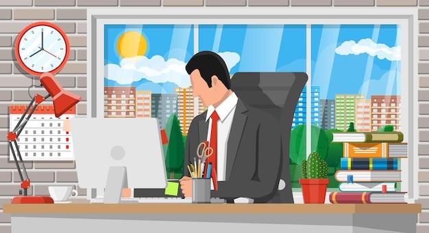 Zakenman aan het werk. moderne creatieve kantoorwerkruimte. werkplek met computer, lamp, klok, boeken, koffie, kalender, stoel, bureau en briefpapier. bureau met zakelijke elementen. platte vectorillustratie