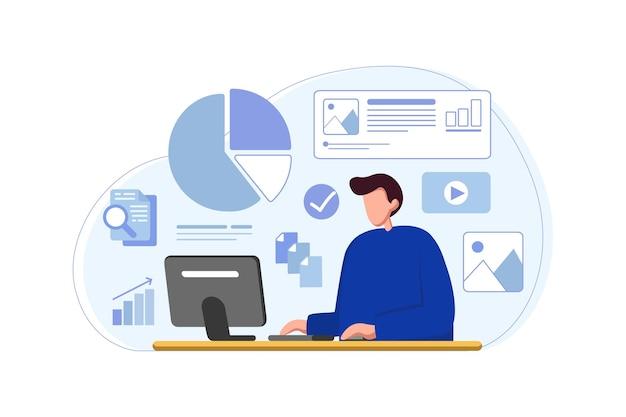 Zakenman analyseren van gegevens en grafiek van computer op kantoor