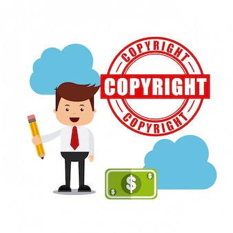 Zakenman avatar met copyright-concept
