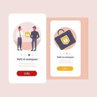 Zakenman baas geven beveiliging schild aan collega koffer bescherming zakelijke aktetas veiligheid overdracht deal concept mannelijk stripfiguur portret platte kopie ruimte