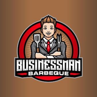 Zakenman barbecue logo sjabloon