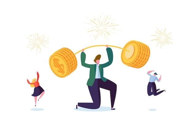 Zakenman barbell met gouden munten opheffen. financieel succes teamwerkconcept. zakelijke prestaties geld verdienen. mensen vieren.