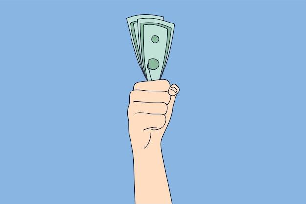 Zakenman bediende manager hand met contant geld dollar fan