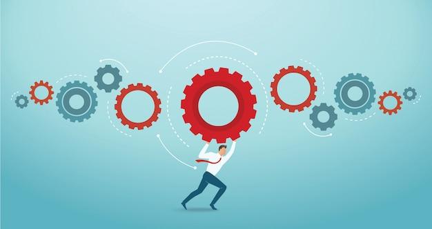Zakenman bedrijf versnellingen concept van innovatie