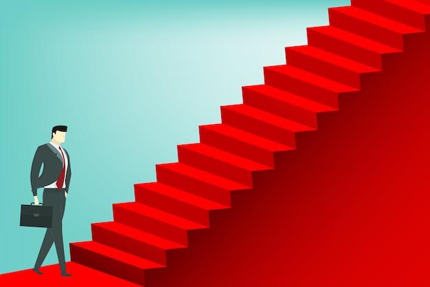 Zakenman begint de rode trap op te voeren