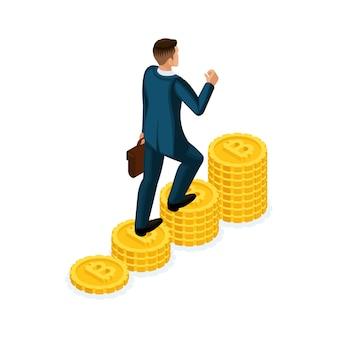 Zakenman beklimt een heuvel van gouden munten crypto-valuta, ico, bitcoin, dollars, contant geld, gaat omhoog, carrièreladder