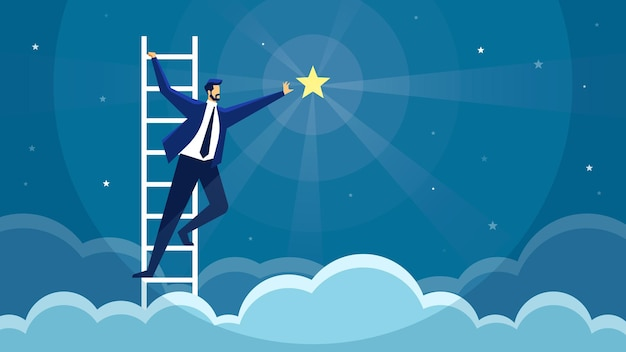 Zakenman bereiken ster klimmen ladder opportunity doel bereiken