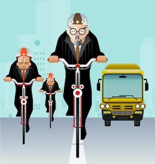 Zakenman berijdende fiets om te werken - bedrijfs milieuvriendelijk concept