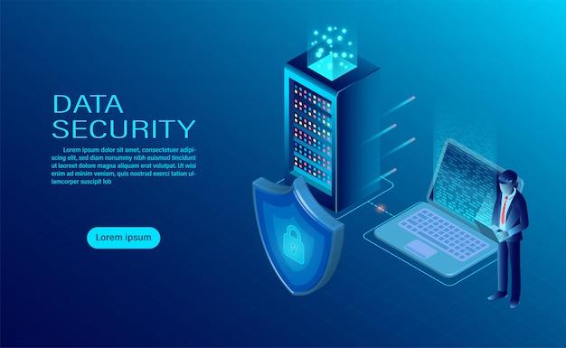 Zakenman beschermt gegevens en vertrouwelijkheid op computer en server. gegevensbescherming en beveiliging zijn vertrouwelijk.