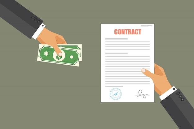 Zakenman betaalt voor contractillustratie