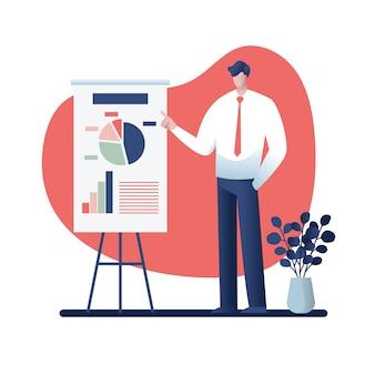 Zakenman bij een presentatie de illustratie van het bedrijfsconceptenbeeldverhaal