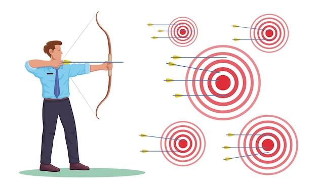Zakenman boogschutter met boog pijlen en doel platte vectorillustratie