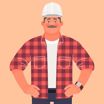 Zakenman bouwer ingenieur op bouwplaats. voorman of productieleider. een man met een helm en gekleed in werkkleding.