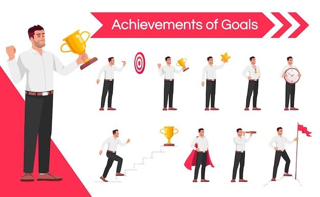 Zakenman carrière prestaties platte vector illustraties set. werknemer strategisch denken en time management vaardigheden geïsoleerde cartoon één karakter kit. ambitieuze werknemersmotivatie