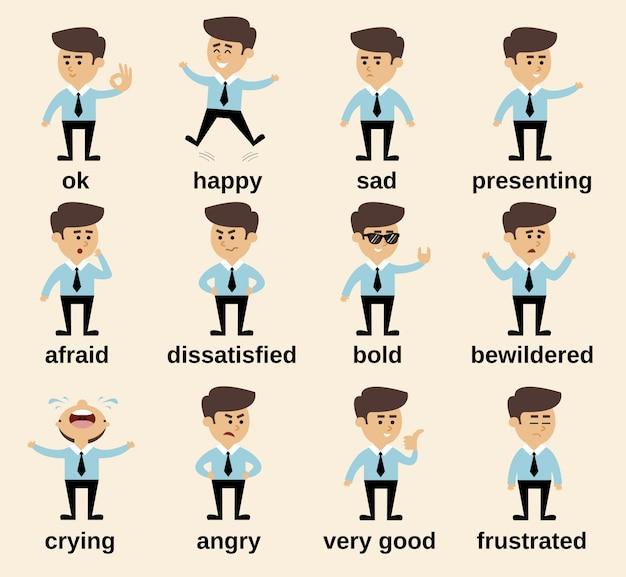 Zakenman cartoon karakter emoties instellen geïsoleerde vector illustratie