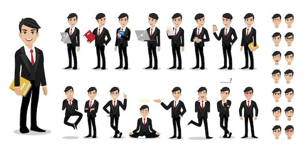 Zakenman cartoon tekenset. knappe bedrijfsmens in het slimme kostuum van de bureaustijl.