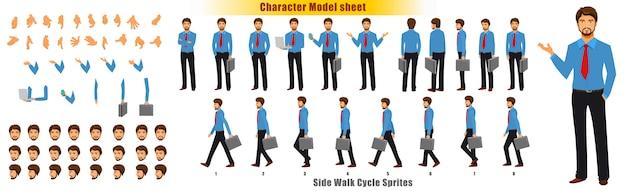 Zakenman character modelblad met het blad van sprites van de cyclus van de loopcyclus