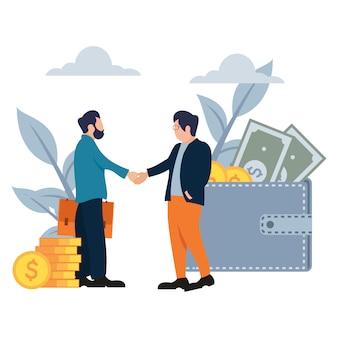 Zakenman deal schudden handen platte cartoon stijl