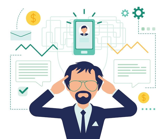 Zakenman denken over businessplan