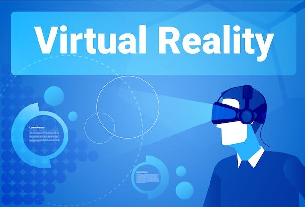 Zakenman die 3d virtuele de werkelijkheidsachtergrond van glazen dragen met de mens van exemplaar ruimtemens in het concept van vrbeschermende brillen