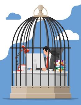 Zakenman die aan computer in de vogelkooi werkt. overwerkte zakenman in de gevangenis. stress op het werk. bureaucratie, papierwerk, deadline en papierwerk. vectorillustratie in vlakke stijl