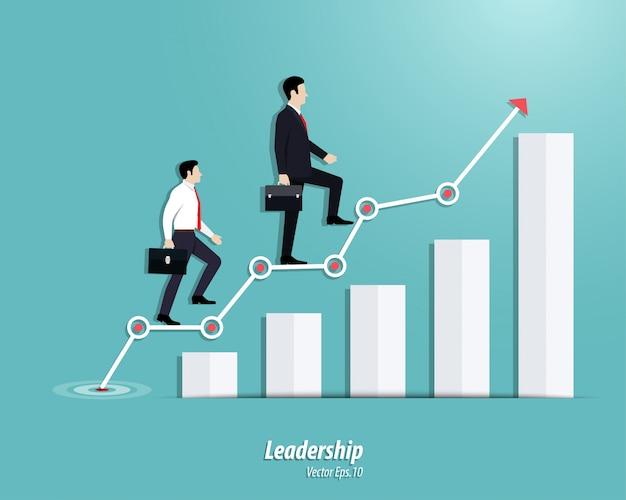 Zakenman die aan de stappen of de succesgrafiek naar boven gaan
