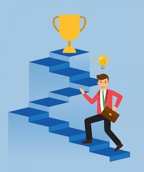 Zakenman die aan doel, ladder van succes, trofee loopt