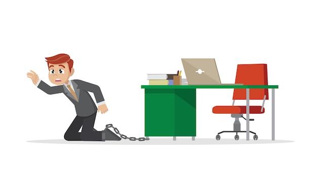 Zakenman die aan een bureau wordt geketend.