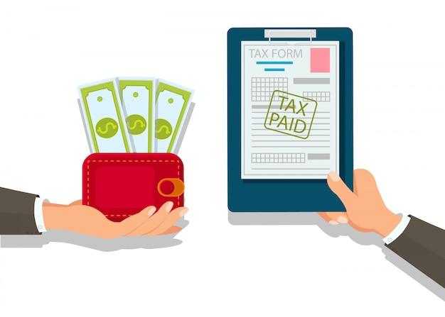 Zakenman die belastingen vlakke illustratie betalen