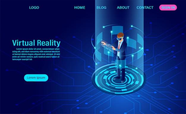 Zakenman die beschermende bril vr met wat betreft interface in virtuele werkelijkheidswereld draagt. toekomstige technologie. plat isometrisch. web header template. platte isometrische vectorillustratie